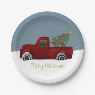 Assiettes En Papier Rétro arbre vintage rouge de camion et de Noël