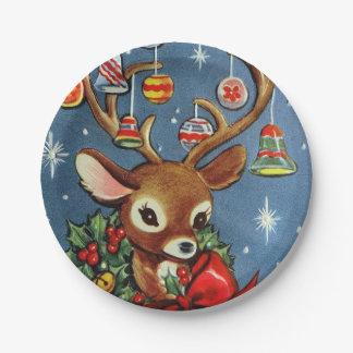 Assiettes En Papier Rétro plat vintage de fête de Noël de renne
