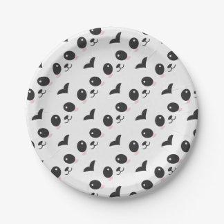 Assiettes En Papier Rose chinois noir et blanc d'ours panda