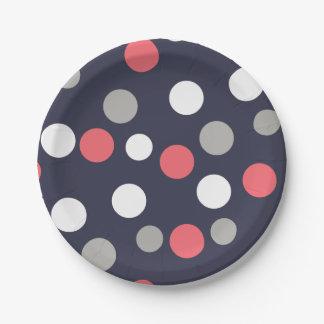 Assiettes En Papier Rose de corail de blanc gris de motif de cercles