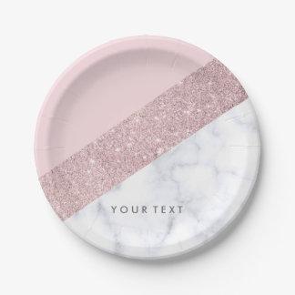 Assiettes En Papier rose de marbre blanc de parties scintillantes
