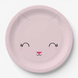 Assiettes En Papier ROSE de plat de fête d'anniversaire de CAT de