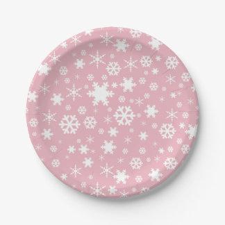 Assiettes En Papier Rose en pastel de Noël de motif élégant de flocon
