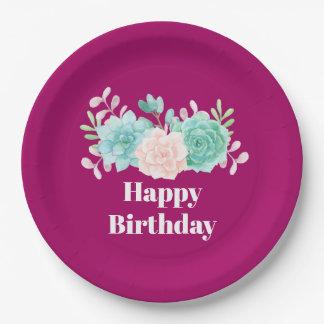 Assiettes En Papier Rose en pastel et anniversaire vert de bouquet