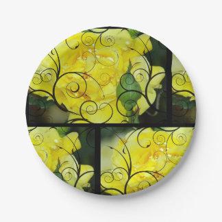 Assiettes En Papier Rose jaune avec le recouvrement noir de conception