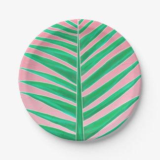 Assiettes En Papier Rose tropical vert d'aquarelle de feuille de