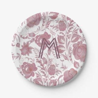 Assiettes En Papier Roses de style de Gzhel peints par mauve