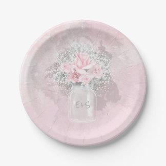 Assiettes En Papier Roses roses et mariage du souffle du bébé