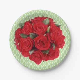 Assiettes En Papier Roses rouges de bouquet et motif de trellis