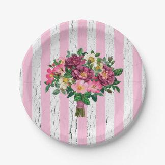 Assiettes En Papier Roses sauvages de bouquet vintage de regard