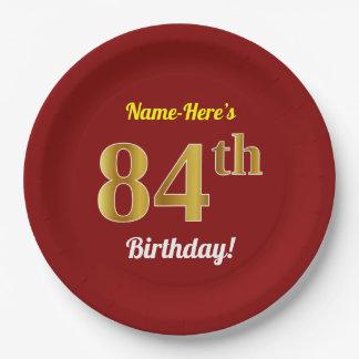 Assiettes En Papier Rouge, anniversaire d'or de Faux