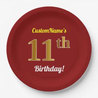 Assiettes En Papier Rouge, anniversaire d'or de Faux 11ème + Nom fait