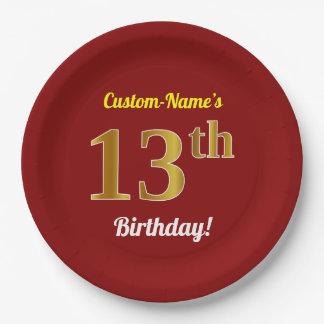 Assiettes En Papier Rouge, anniversaire d'or de Faux 13ème + Nom fait