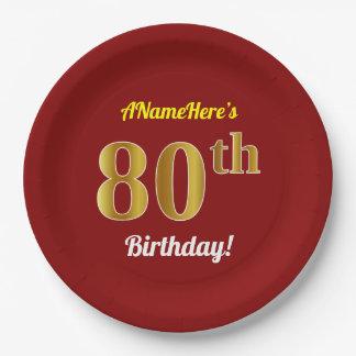 Assiettes En Papier Rouge, anniversaire d'or de Faux quatre-vingtième