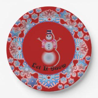 Assiettes En Papier Rouge de bonhomme de neige de flocon de neige