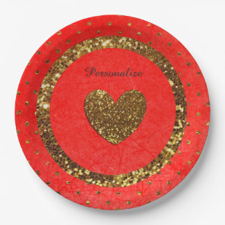 Assiettes En Papier Rouge et plaques à papier personnalisées par