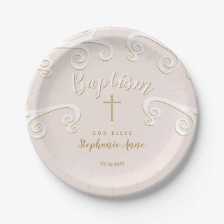 Assiettes En Papier Rouleaux de baptême en rose et or