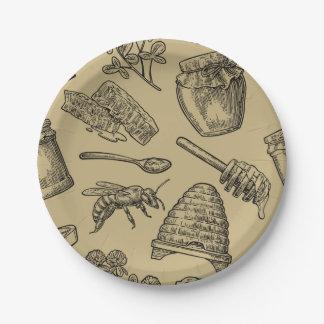 Assiettes En Papier Rustique naturel organique vintage de ruche