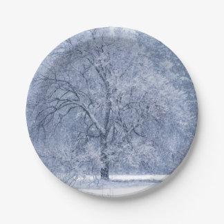 Assiettes En Papier Scène congelée par hiver d'arbre de Milou