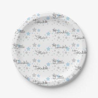 Assiettes En Papier Scintillement peu de comptine grise de gris bleu