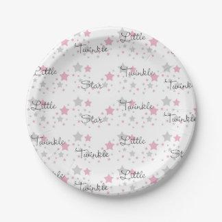 Assiettes En Papier Scintillement peu de comptine grise grise de rose