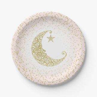 Assiettes En Papier Scintillement peu de rose de lune d'or d'étoile