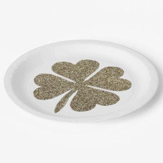 Assiettes En Papier Sembler d'or de symbole de bonne chance de trèfle