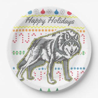 Assiettes En Papier Série laide de faune de chandail de Noël de loup
