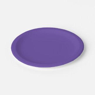 Assiettes En Papier Seulement couleur solide pourpre violet-foncé
