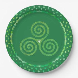 Assiettes En Papier Shamrock celtique vert