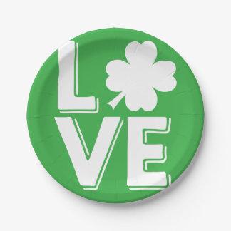 Assiettes En Papier Shamrock irlandais de vert d'amour du jour de St