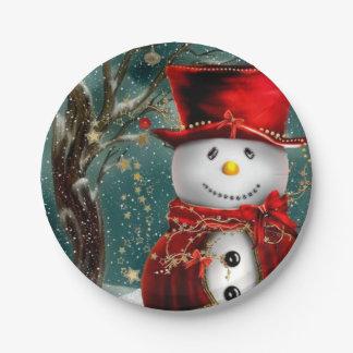 Assiettes En Papier Snowmans mignons - illustration de bonhomme de