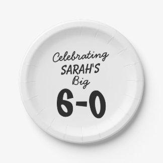 Assiettes En Papier soixantième anniversaire personnalisé célébrant le