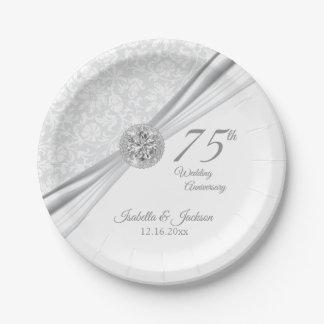 Assiettes En Papier soixantième/soixante-quinzième anniversaire de