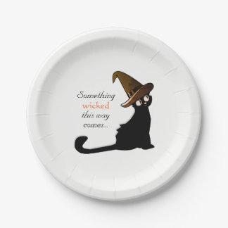 Assiettes En Papier Sorcière de chat de Halloween - plats