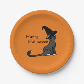 Assiettes En Papier Sorcière heureuse de chat de Halloween - plats