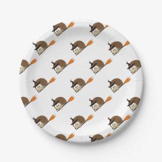 Assiettes En Papier Sorcière mignonne de hérisson