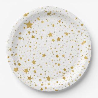 Assiettes En Papier Stars2 d'or - Blanc pur