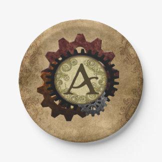 Assiettes En Papier Steampunk grunge embraye la lettre A de monogramme
