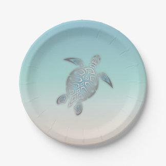 Assiettes En Papier Style argenté de plage de tortue de mer