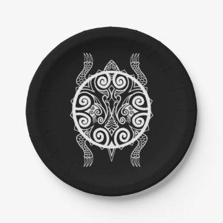 Assiettes En Papier Tatouage de tortue de guerrier de Tiki