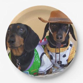 Assiettes En Papier Teckel drôle - cowboy de chien