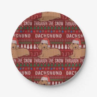 Assiettes En Papier Teckel par le chandail laid de Noël de neige