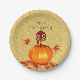Assiettes En Papier Thanksgiving drôle Turquie dans la plaque à papier