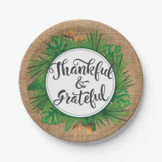 Assiettes En Papier Thanksgiving tropical de toile de jute