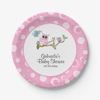 Assiettes En Papier Thème rose de baby shower de hibou de bébé