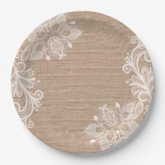 Assiettes En Papier Toile de jute naturelle et plaque à papier florale