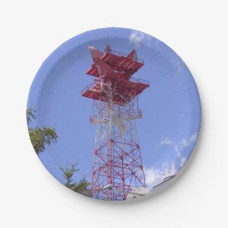 Assiettes En Papier Tour de telecom de radio de relais à micro-ondes