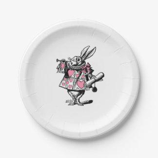 Assiettes En Papier Trompettiste blanc Alice de cour de lapin au pays