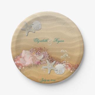 Assiettes En Papier Tropicales, mariage de plage, étoile de mer,